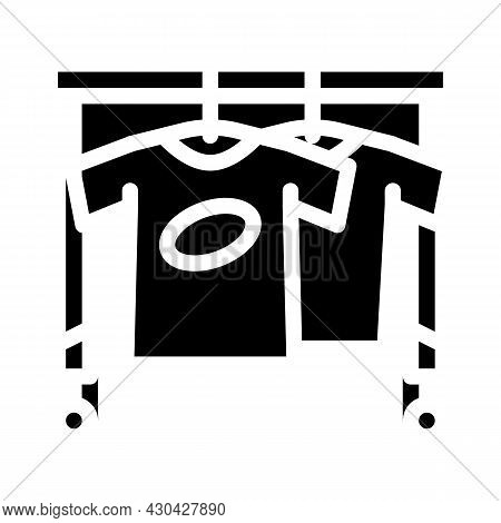 Wardrobe With Clothes For Actor Glyph Icon Vector. Wardrobe With Clothes For Actor Sign. Isolated Co