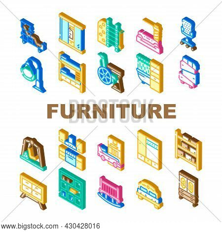 Furniture House Room Interior Icons Set Vector. Vintage And Modern Furniture, For Sport Exercising A