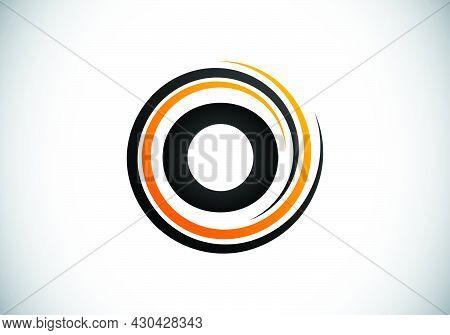 Initial O Monogram Alphabet In The Spiral. Swirl Spiral Infinity Logo Design. Font Emblem.  Modern V