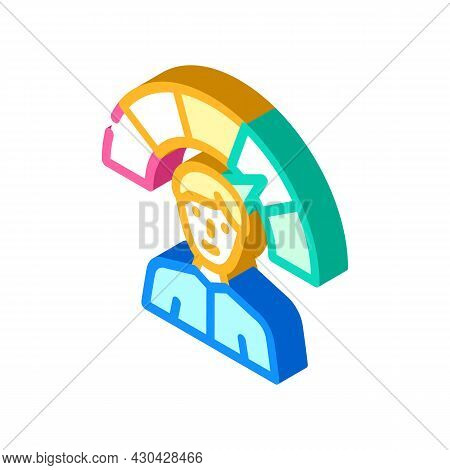 Positive Employee Level Isometric Icon Vector. Positive Employee Level Sign. Isolated Symbol Illustr