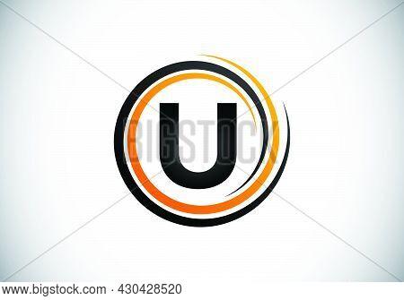Initial U Monogram Alphabet In The Spiral. Swirl Spiral Infinity Logo Design. Font Emblem.  Modern V