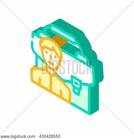 Portfolio Employee Isometric Icon Vector. Portfolio Employee Sign. Isolated Symbol Illustration