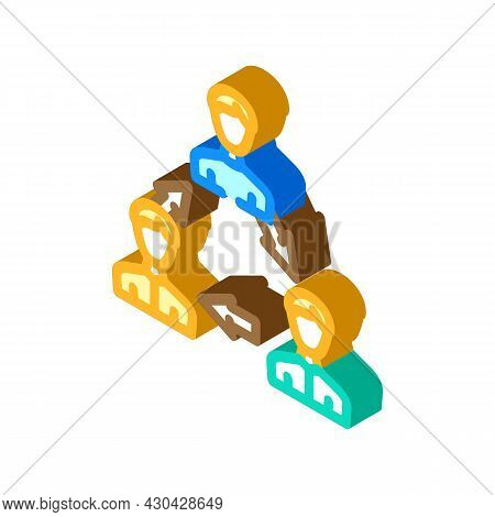 Interaction People Isometric Icon Vector. Interaction People Sign. Isolated Symbol Illustration