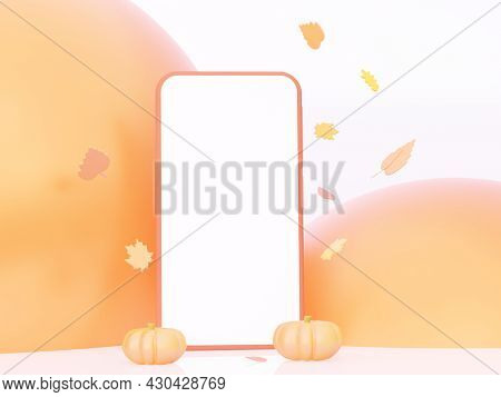 Autumn Phone Layout With Flying Leaves. 3d Rendering.