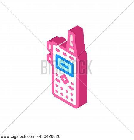 Walkie-talkie Electronic Device Isometric Icon Vector. Walkie-talkie Electronic Device Sign. Isolate