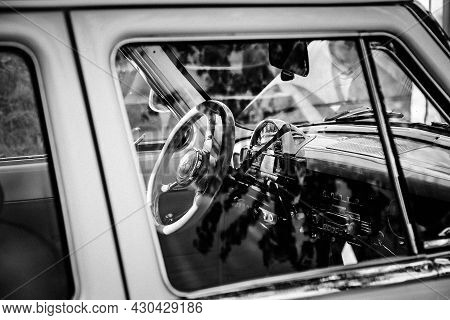 Moscow, Russia - May 30, 2021: Legendary Car Gaz-21 Volga In Open Air. Interior Of Rare Car With Shi