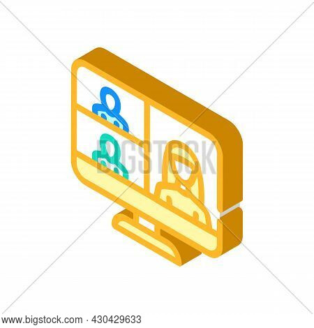 Video Conference Computer Software Isometric Icon Vector. Video Conference Computer Software Sign. I
