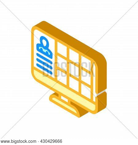 Conference With Large Number Of Participants Isometric Icon Vector. Conference With Large Number Of