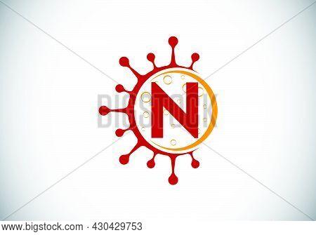 Initial N Monogram Alphabet With Coronavirus Cells. Lab Logo Sign Symbol Design Vector Illustration.