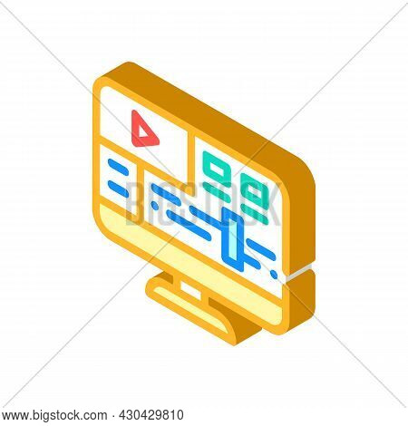 Video Processing Software Isometric Icon Vector. Video Processing Software Sign. Isolated Symbol Ill