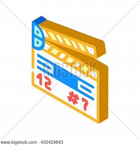 Clapperboard Tool Isometric Icon Vector. Clapperboard Tool Sign. Isolated Symbol Illustration
