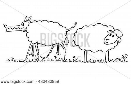 Sheep Looking At Wolf In Sheeps Clothing, Vector Cartoon Illustration