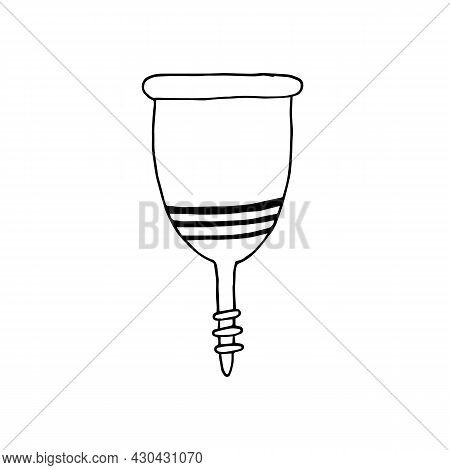 Hand Drawn Of A Menstrual Cup In Doodle Style. Isolated On White Background. Hygiene Product During