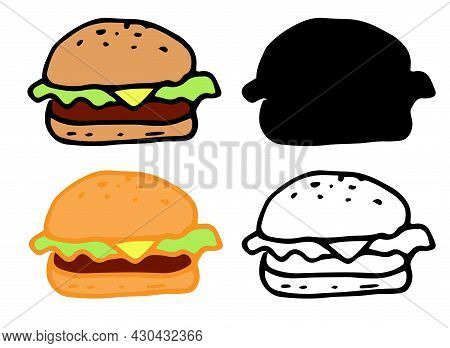 Vector Set Of Isolated Burger Elements. Burger With Yellow Melted Cheese And Green Salad And A Cutle