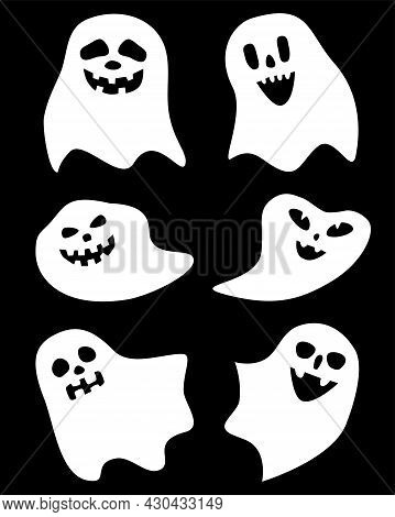 Set Of White Halloween Ghosts Of Different Simple Flat Shapes On Black Background, Spooks With Faces