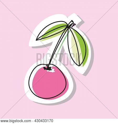 Vector Illustration Of Cherry Or Sweet Cherry In Doodle Style. Drawing With An Offset Outline.