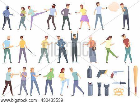 Self Defense Icons Set Cartoon Vector. Adrenaline Attack. Agressive Action