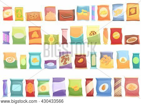 Snack Pack Icons Set Cartoon Vector. Candy Bag. Biscuit Package