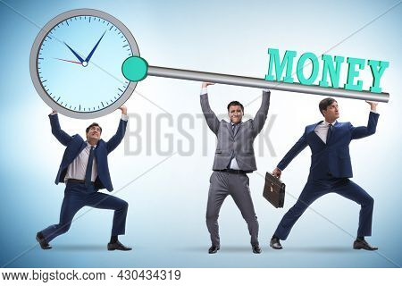 Time is money concept with businessman and key