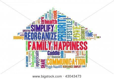 Concepto de la felicidad de la familia en el collage de la palabra