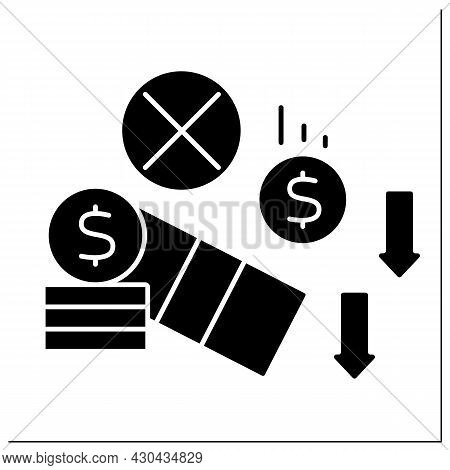 Investment Glyph Icon. Money Loses. Unprofitable Investment. Poverty Concept. Filled Flat Sign. Isol