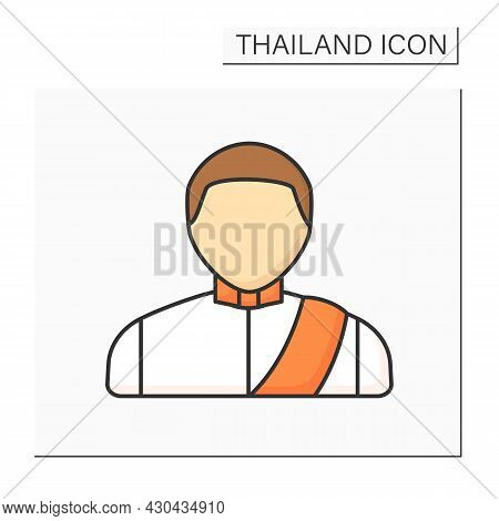 Man Color Icon. Thai Man In Traditional Suit. Country Citizen.thailand Concept. Isolated Vector Illu