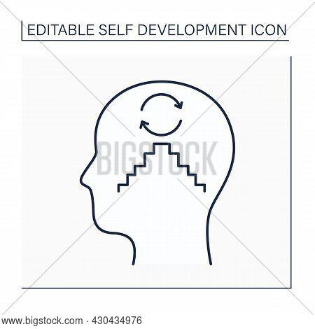 Habit Creation Line Icon. Changing Behavior, Through Regular Repetition. Developing New Habits. Self