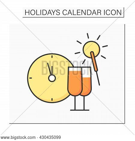New Year Eve Color Icon. December 31. People Throw Parties, Make Wishes, Drink Champagne And Have Fu