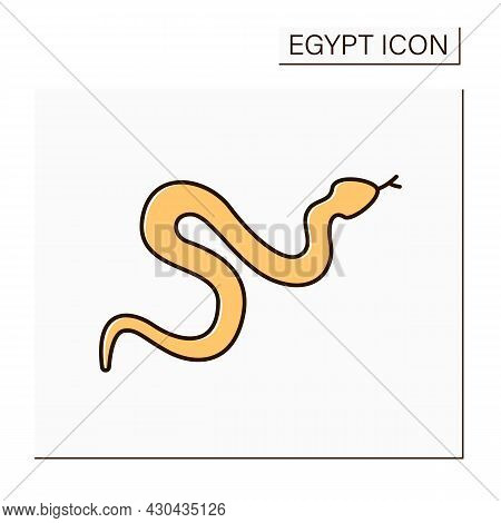 Snake Color Icon. Venomous Snakes. Dangerous Serpent Living In Egypt. Cobra. Egypt Concept. Isolated