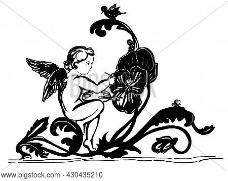 Angel.  Amur With Flower. Cupid And  Love. Valentine's Day. Palette, Drawing. Black And White Cool P
