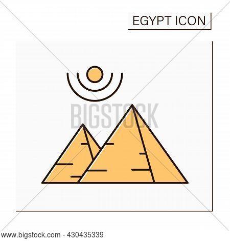 Pyramid Color Icon. Ancient Egypt Civilization Architectural Monument. Huge Stone Structures Built A