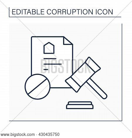 Debarment Line Icon. Excluded From Certain Possessions, Rights, Privileges, Or Practices. Legal Act.