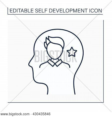 Self-image Line Icon. Personal View Or Mental Picture About Himself. Self-development Concept. Isola
