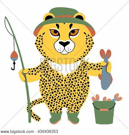 Vector Illustration Of A Cute Cartoon Cheetah With A Fishing Rod And A Fish