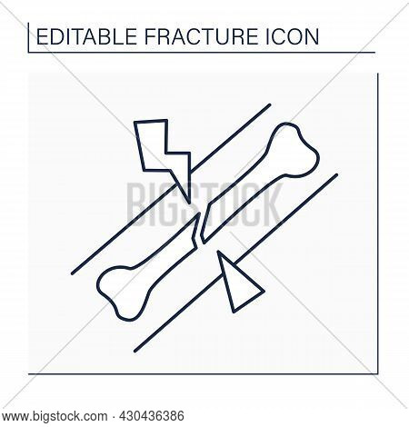 Oblique Fracture Line Icon. Break Has Curved Or Sloped Pattern. Pathologic Fracture. Caused By Disea