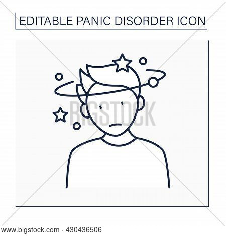 Feeling Dizzy Line Icon. Dizziness. Feeling Faint, Woozy, Weak Or Unsteady. Panic Disorder Concept.