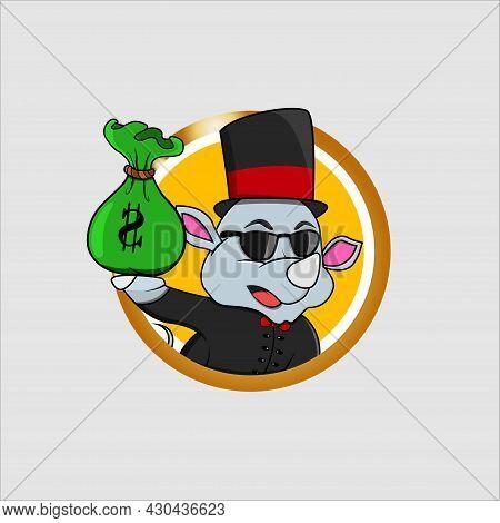 Rich Cartoon Rhinoceros Head Circle Label With Bring Money, Yellow Colors Background, Cartoon, Masco