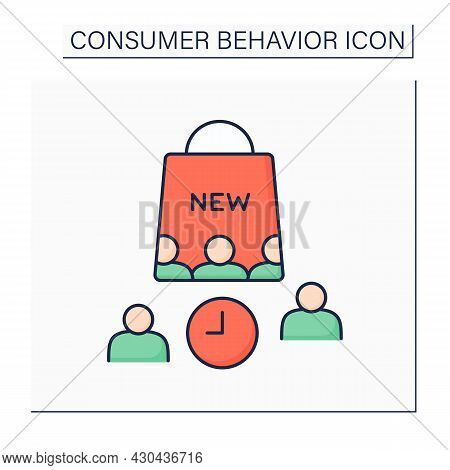 Laggards Color Icon. Consumer Groups Avoid Change And Are Not Willing To Adopt New Products. Waiting