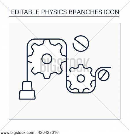 Mechanics Line Icon. Particles Motions, General System Of Particles.object And Properties In Form Of