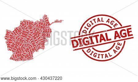 Distress Digital Age Badge, And 2021 Year Digits Collage Of Afghanistan Map. Red Round Badge Contain