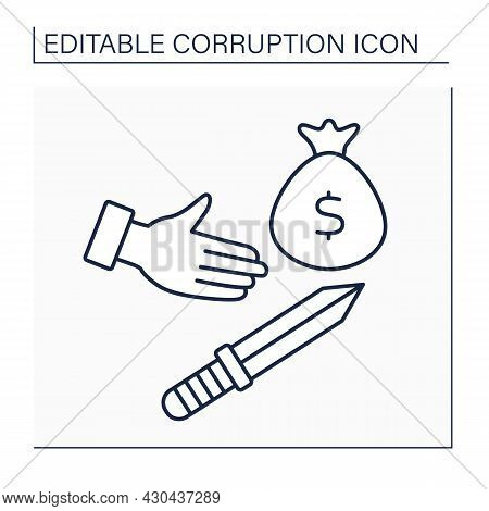 Extortion Line Icon. Obtaining Something Through Force Or Threats. Fight For Wealth. Unfair Richness