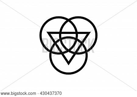 Triquetra With Triangle Logo And Overlapping Circles, Trinity Knot Tattoo, Pagan Celtic Symbol Tripl