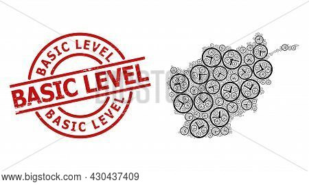 Rubber Basic Level Stamp Seal, And Clock Collage Of Afghanistan Map. Red Round Stamp Seal Includes B