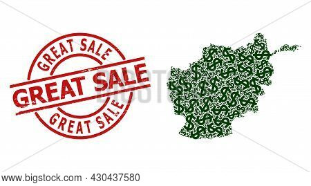 Grunge Great Sale Badge, And Dollar Mosaic Of Afghanistan Map. Red Round Badge Contains Great Sale T