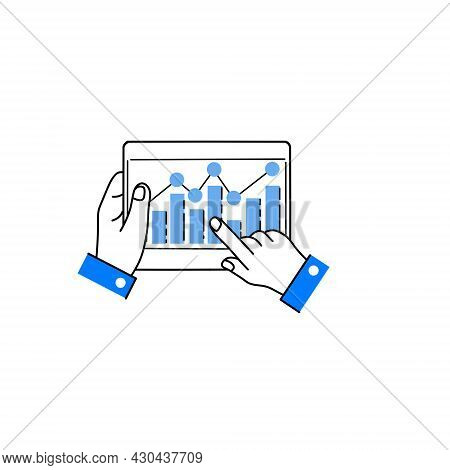 Business Chart On Tablet Screen In Hands. Touch Screen Device With Finger. Analytics And Statistics.