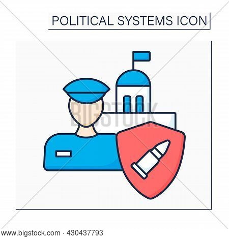 Military Regime Color Icon. Military Dictatorship.authoritarian Government Controlled By Military An