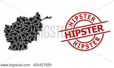 Grunge Hipster Seal, And Man Figure Mosaic Of Afghanistan Map. Red Round Seal Includes Hipster Text