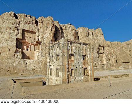 Cube Of Zoroaster Or Ka'ba-ye Zartosht Located In Naqsh-e Rustam, Rock Necropolis Of Persian Kings.