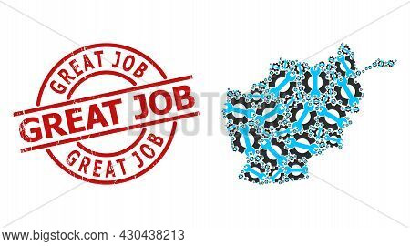 Grunge Great Job Stamp Seal, And Service Tools Mosaic Of Afghanistan Map. Red Round Stamp Seal Conta
