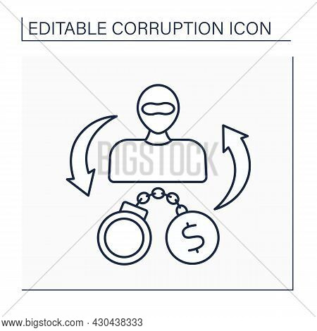 Criminal Enterprise Line Icon. Group Of People Engaged In Significant Criminal Activity.drug Cartels